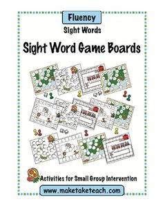 9 sight word game boards using the Dolch sight word lists 1-9