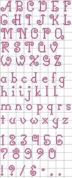 "Free ""Curly-Q"" Alphabet pattern. I like the lower case alphabet. Cross Stitch Alphabet Patterns, Embroidery Alphabet, Cross Stitch Letters, Cross Stitch Designs, Embroidery Patterns, Cross Stitch Font, Cross Stitch Numbers, Loom Patterns, Cross Stitching"