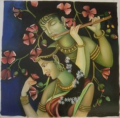 Krishna Oil Painting depicting the theme of Love.