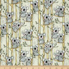 Kanvas Down Under Koalas Neutral, Designed by Greta Lynn for Benartex. HOW CUTE IS THIS??