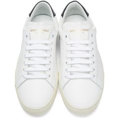 Saint Laurent White Court Classic Sneakers ($455) ❤ liked on Polyvore featuring shoes, sneakers, flats, white, zapatillas, white shoes, white leather shoes, yves saint laurent sneakers, white trainers and leather lace up sneakers