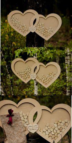 Wedding Guest Book, Wedding Guestbook Drop Top hearts, 3 D Guestbook… Wedding Signs, Our Wedding, Dream Wedding, Guest Book Alternatives, Wooden Hearts, Wedding Guest Book, Wedding Accessories, Rustic Wedding, Wedding Planning
