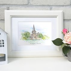 Personalised Wedding Venue Illustration by Homemade House, the perfect gift for Explore more unique gifts in our curated marketplace. Unique Wedding Gifts, Personalized Wedding Gifts, Personalised Gifts, First Wedding Anniversary Gift, House Illustration, Baby Prints, Paper Gifts, Wedding Venues, How To Draw Hands
