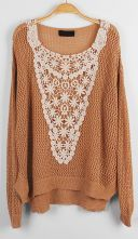 Camel Long Sleeve Hollow Embroidery Sweater with Metallic Detail $35.20