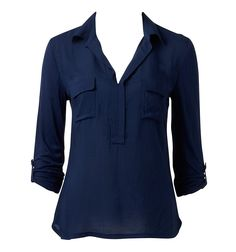 $50  Remi Woven Front Shirt - Forever New  Woven front shirt with deep placket and chest pocket detail. Roll tab sleeve.