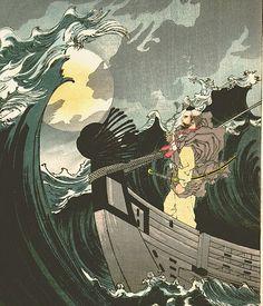 One Hundred Aspects of the Moon - Moon above the Sea of Daimotsu Bay - Benkei  Yoshitoshi Tsukioka, 1839-1892
