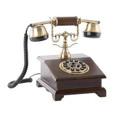 Teléfono retro cuadrado madera estilo antiguo