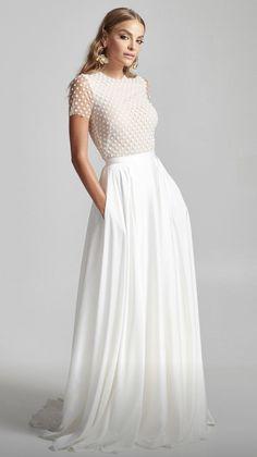 Classy Wedding Dress, Minimalist Wedding Dresses, Dream Wedding Dresses, Bridal Dresses, Wedding Gowns, Short Sleeved Wedding Dress, Tulle Skirt Wedding Dress, Wedding Bodysuit, Minimalist Gown