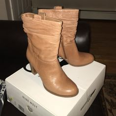 Nine West Boots Nine West size 6 1/2 slouchy booties with a 3 inch heel. Gently used in great condition. Nine West Shoes Ankle Boots & Booties