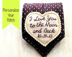Personalize your patch. Groom Gift from Bride- Embroidered Tie Wedding 2015, Fall Wedding, Rustic Wedding, Our Wedding, Dream Wedding, Perfect Wedding, Wedding Ties, Wedding Groom, Wedding Band