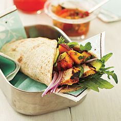 Curry Chicken Wraps with Nectarine Chutney | CookingLight.com