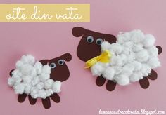 Colaj Oite din vata - Cotton Sheep craft for kids