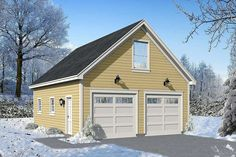 This detached garage has two windows and a man door on the left side.There is storage space in the back of the garage.Stairs go to the upper floor which screams Man Cave potential.Related Plan: Get a wider version with garage plan 2 Car Garage Plans, Garage Plans With Loft, Garage Apartment Plans, Garage Apartments, Garage Ideas, Garage House, Garage Stairs, Detached Garage Designs, Design Garage