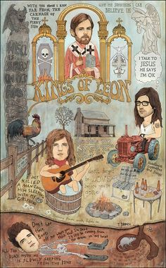 Kings Of Leon  Back Down South 20 x 30 by TRAVISBRAUN on Etsy
