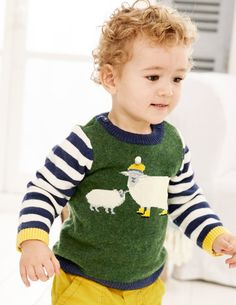 Your little one will woof, baa and waddle with joy at our animal jumpers. These classic knitwear designs have long stripy sleeves and sweet detailing to delight curious tiny fingers. We're even uttering the two magic words: machine washable. Women's Ponchos & Wraps, Girls Leg Warmers, Boden Boys, Baby Pullover, Mini Boden, Baby Knitting Patterns, Kind Mode, Pulls, Kids Wear