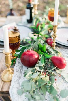 Pomegranate Table Scape Decor // Winter Inspired Boho Chic Wedding Ideas via TheELD.com Wedding Designs, Wedding Ideas, Wedding Design Inspiration, Gypsy Style, Chic Wedding, Tablescapes, Boho Chic, Table Decorations, Inspired