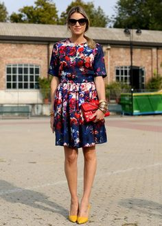 Floral dress with coordinating clutch and contrasting, light colored shoes (never black!)
