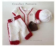 Baby's First Baseball Uniform  5 piece crochet pattern (cute crochet ideas,  fun diy)
