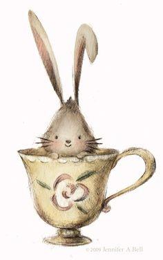 Bunny in a tea cup | Illustration by Jennifer A. Bell@JenniferABell_