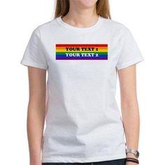 Cafepress Personalized Cute Rainbow Women's T-Shirt, Size: Small, White