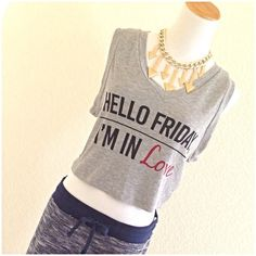 Hello Friday, I'm in LOVE Cropped Top NWOT Tagged L but runs small. Can possibly fit S-M. Never been worn.   Please ask ALL questions before you buy as all sales are final. I try to describe the items I sell as accurately as I can but if I missed something, please let me know FIRST so we can resolve it before you leave < 5rating.   TRADES/PP LOWBALLING (Please consider the 20% PM fee) ✅Offers only through the OFFER BUTTON  100% Authentic items   &  Free home Double Zero Tops