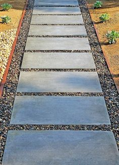 A concrete paver walkway with pebbles is a low-maintenance solution with a clean modern look. Here gravel & DG--decomposed granite with drought-tolerant plants border it. Gravel Walkway, Brick Walkway, Concrete Walkway, Paver Pathway, Front Yard Walkway, Pavers Patio, Outdoor Walkway, Side Walkway, Cement Pavers