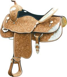 "BILLY COOK HUNT COUNTY SHOW SADDLE DESCRIPTION: Fully hand tooled, 3-Flower design with Natural finish, polished edges and mock billets FEATURES: TREE TYPE: Armor-Tex Pleasure CANTLE: 4"" Cheyenne roll"