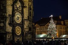 The illuminated Christmas tree stands at the Christmas market behind the Astronomical Clock at the Old Town Square on November 28, 2016 in Prague, Czech Republic.