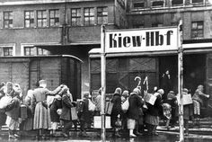 Women being taken from Kiev in Ukraine to forced labor in Germany. My grandmother left Kiev in 1919. Her sister was not so lucky and after ending up in France, was murdered by the Germans after the 1940 invasion.