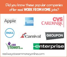 Did you know that these known, reputable companies actually do hire home-based workers? This is a great list if you want to work from home b...