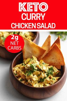 keto friendly salads An easy homemade curry chicken salad using real ingredients and its keto and low carb friendly! Eat it as is, in a wrap, or make some low carb tortilla chips. Healthy Low Carb Recipes, Low Carb Dinner Recipes, Easy Salad Recipes, Diet Recipes, Snack Recipes, Diabetic Meals, Keto Snacks, Keto Dinner, Breakfast Recipes
