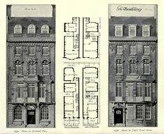 Elevations and plans for two residences, London