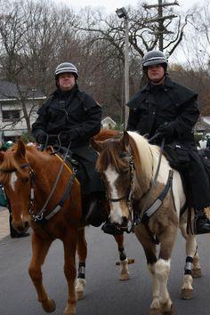 Florence Police Mounted Patrol, Alabama - in rain slickers - Police Horse Tack
