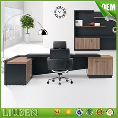 Source Fashion High end office system furniture l shape manager executive office desk with long cabinet on m.alibaba.com