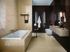Fliesen Atlas Concorde Braun Gold Mosaik Badewanne Hochglanz throughout Badezimmer Braun Gold Modern Bathroom Tile, Bathroom Design Luxury, Bathroom Spa, Bathroom Ideas, Bathroom Furniture, Home Furniture, Tile Design, My Dream Home, House Design
