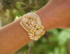 Vintage Lace And Pearls   BEADED Pearl CUFF Vintage Lace White And Gold by carellya on Etsy