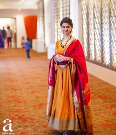 looking gorgeous in my latest Anarkali paired with Kanjeevaram Duppatta. Indian Gowns, Indian Attire, Indian Ethnic Wear, Indian Outfits, Ethnic Suit, Indian Lehenga, Indian Clothes, Indian Style, Salwar Designs