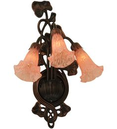 """10.5""""W Pink Pond Lily 3 Lt Victorian Wall Sconce"""
