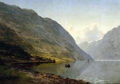 Johan Fredrik Eckersberg From Hardanger, 1869 Landscape Paintings, Landscapes, The World's Greatest, Painting Inspiration, Fine Art America, Concept Art, Environment, Clouds, Wall Art