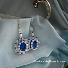 Unique handmade beaded dangle, blue and white, errings $19 #Handmade Errings, #Dangle Errings, #Festal Jewelery, #Gift for Bride, #Beaded White, #Gift for Woman, #Unique Errings Handmade Accessories, Margarita, Jewelery, Dangles, Blue And White, Bride, Woman, Earrings, Unique