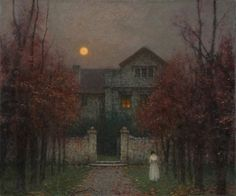 Jakub Schikaneder Czech Republic) Paintings 2 Schikaneder is a Czech painter known for his soft paintings of the outdoors, often lonely in mood. Nocturne, Prague, Jakub Schikaneder, Fine Art, Beautiful Paintings, Landscape Art, Painting & Drawing, Garden Painting, Garden Art