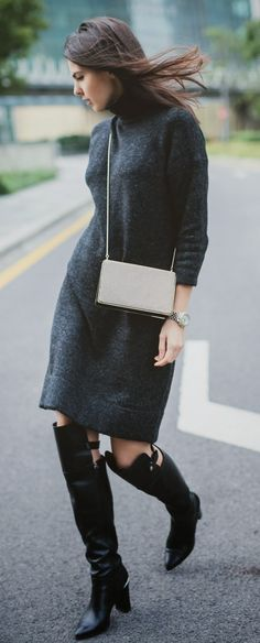 Dark Grey Sweater Dress +  Over the Knee Leather Boots