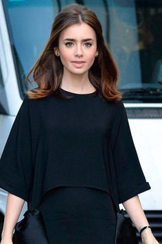 Lily Collins lovely subtle ombré hair