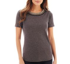 a.n.a® Short-Sleeve Embellished-Neck Tee