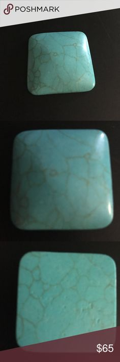 Large turquoise cabochon 35mm x 35mm Chinese spiderweb turquoise loose stone, polished square cabochon measuring 35mm x 35mm, ready to set! Jewelry