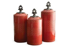 Asst of 3 Kitchen Canisters, Red