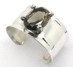 Vintage Aaron Rubinstein Sterling Silver Smokey Topaz Modernist Cuff Bracelet #AaronRubenstein #Cuff
