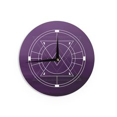 Kess InHouse Matt Eklund 'Mystic City' Purple Digital Wall Clock