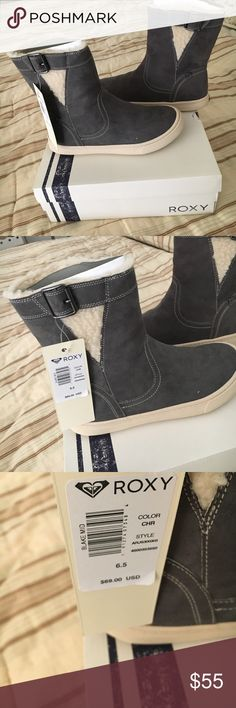 Roxy boots.  6 1/2 Super cute- buckle on side-fake fur lining- NWT- box included Roxy Shoes Winter & Rain Boots