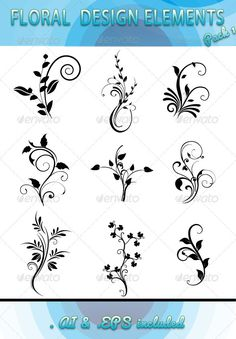 Floral Design Elements Pack 1 It conatins .EPS file Created: GraphicsFilesIncluded: VectorEPS Layered: No MinimumAdobeCSVersion: Tags: beautiful Flower Tattoo Designs, Henna Designs, Designs To Draw, Floral Drawing, Flower Design Drawing, Flower Silhouette, Silhouette Vector, Design Floral, Ad Design
